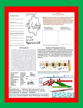 Cell Transport Biology Life Science Quiz for Special Education ELD