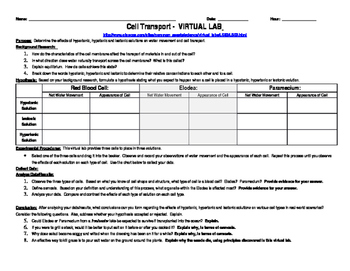 Cell Transport Virtual Lab Handout
