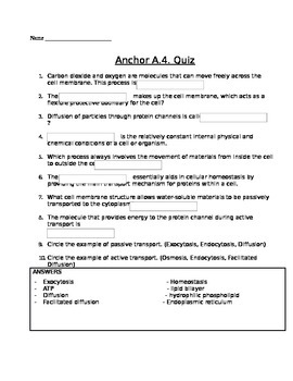 Cell Transport (active and passive) Assessment (Quiz)