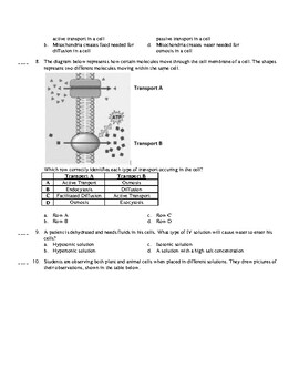 Cell Transport and Solutions Quiz
