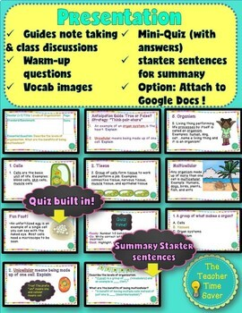 Cell Unit: Levels of Organization Lesson (presentation, notes, and activity)