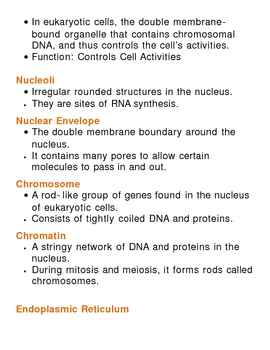 Cell Unit Vocabulary Lesson Plan