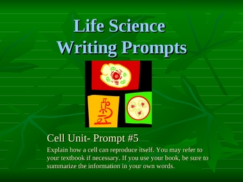 Cell Unit- Writing Prompts