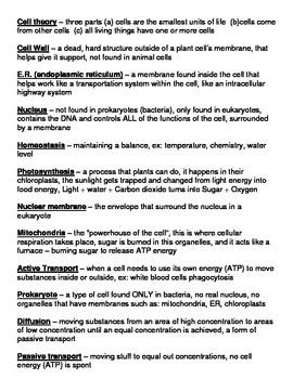 Cell Vocabulary Bingo Game