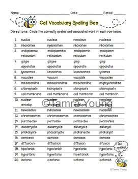 Cell Vocabulary Spelling Bee {FREE Download!}