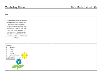 Cell: Vocabulary activities and questions (Holt Science Chapter 2, Section 2)