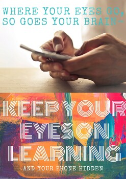 Cell phone policy poster - Keep your eyes on learning and your phone hidden