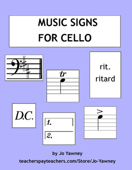 Cello Music Signs Card Game