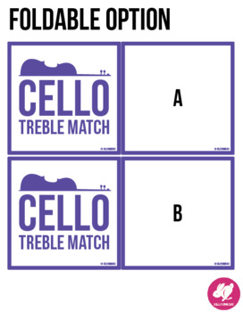 Cello Treble Clef Range - Memory & Matching Card Game for Strings