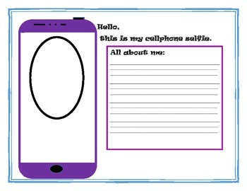 "Cell phone ""selfie' worksheet or bulletin board idea"