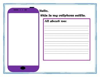 "Cell phone ""selfie' worksheet or bulletin board idea"