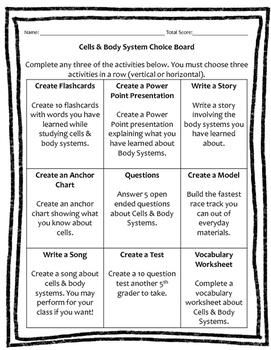 Cells & Body Systems Choice Board (9 Activities) Rubrics Included!