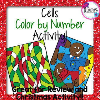 Christmas Science Cells Color by Number Review Activity