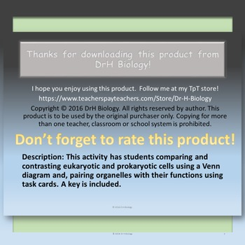 Cells: Comparisons and Functions  {With Task Cards}