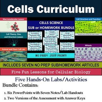 Cells Curriculum - Five Lessons & Seven Literacy Articles for Sub or Homework