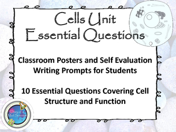 Cells Essential Questions Posters and Writing Prompts