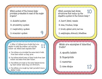Cells, Genetics, and Body Systems... Oh My!  Hands On Task Cards - 5.L.1 & 5.L.3