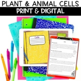 Plant and Animal Cells Digital Notebook Activity for Dista