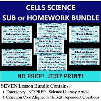 Cells Homework Bundle - NO PREP Sub Articles - Common Core Literacy