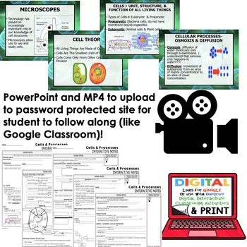 Cells Interactive Guided Notes and PowerPoints NGSS, Life Science Biology Google