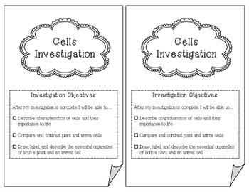 Cells Investigation Booklet
