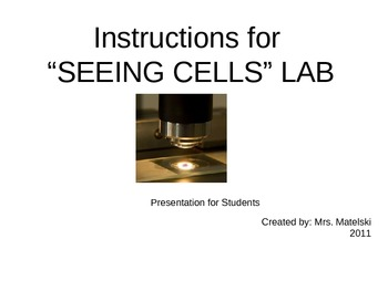 Cells Lab-Onion, Plant, Cheek- Step-by-step directions for students