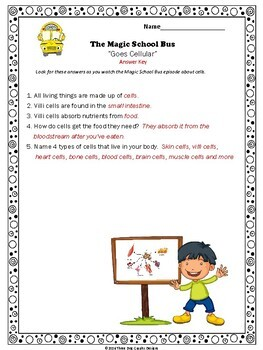 "Cells Magic School Bus ""Goes Cellular"" Video Worksheet About Human Body Cells"