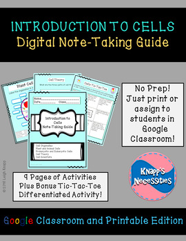 Cells Digital Note-Taking Guide for Google Classroom and Printable Packet