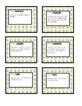 Cells (Organelles and Life Basics) I Have Who has Cards (VA SOL 5.5 a-c)