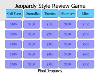 Cells, Organelles, and Microscopes Jeopardy Style Game