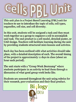Cells PBL (Project Based Learning) FULL Unit Plan