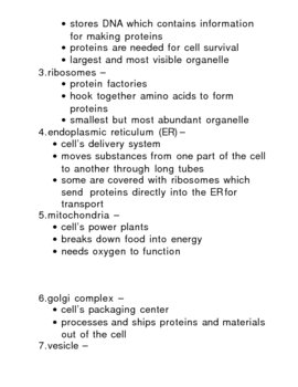Cells: Plant & Animal - Organelles and  Functions Lesson Plan