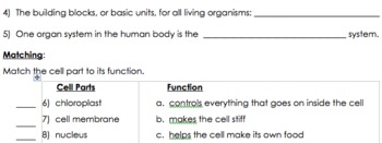 Cells Quiz or Review Worksheet
