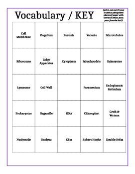 Cells Review BINGO