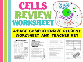 Cells Review Worksheet for Biology Life Science