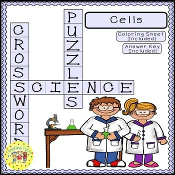 Cells Science Crossword Puzzle Coloring Worksheet Middle School