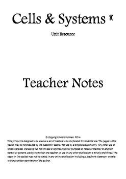 Cells & Systems Teacher Notes