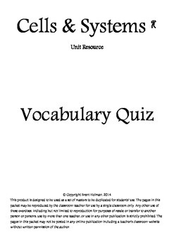Cells & Systems Vocabulary Quiz