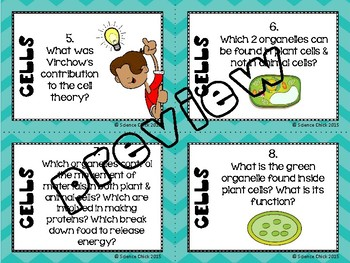 Cells Task Cards - with or without QR codes