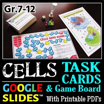 Cells Task Cards with Game Board {Editable Template}