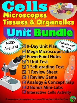 Cells, Tissues, Microscopes Unit Bundle - NGSS