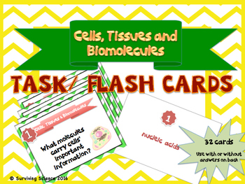 Cells, Tissues and Biomolecules Task/Flash Cards