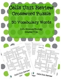 Cells Unit Review Crossword Puzzle- 30 Vocabulary Words