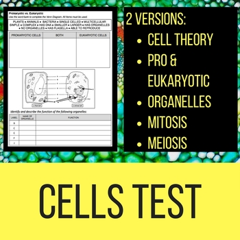 Cells Unit Test and Study Guide