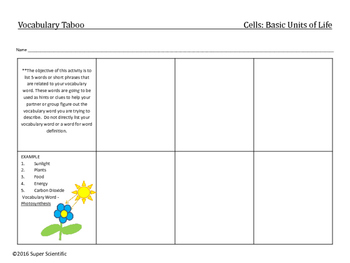 Cells: Vocabulary Activities and questions (Holt Science Chapter 2, Section 1)