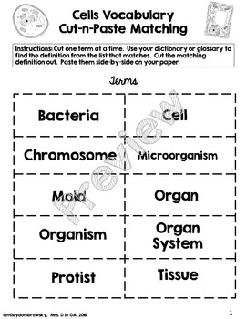 Cells Vocabulary Cut-n-Paste Matching