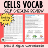 Cells Vocabulary Self Checking Practice