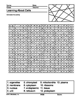 Cells Word Search Printable