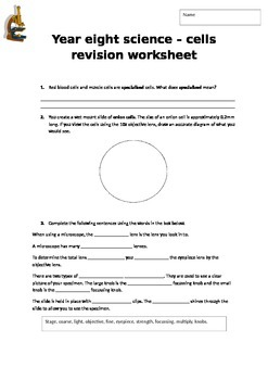 Cells and Body Systems Revision Worksheet