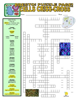 Cells and Organelles Puzzle Page (Wordsearch and Criss-Cross)